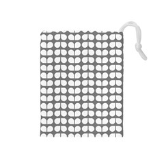 Gray And White Leaf Pattern Drawstring Pouches (medium)