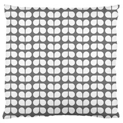 Gray And White Leaf Pattern Large Flano Cushion Cases (One Side)