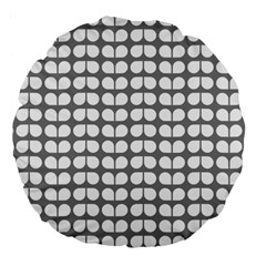 Gray And White Leaf Pattern Large 18  Premium Flano Round Cushions