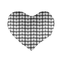Gray And White Leaf Pattern Standard 16  Premium Flano Heart Shape Cushions