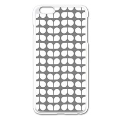 Gray And White Leaf Pattern Apple iPhone 6 Plus Enamel White Case