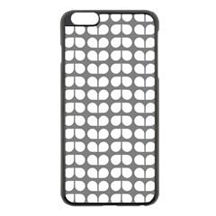 Gray And White Leaf Pattern Apple Iphone 6 Plus Black Enamel Case