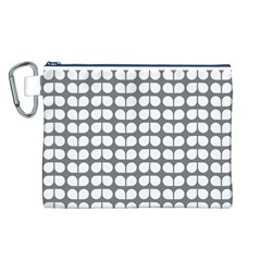 Gray And White Leaf Pattern Canvas Cosmetic Bag (l)
