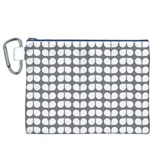Gray And White Leaf Pattern Canvas Cosmetic Bag (XL)