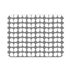 Gray And White Leaf Pattern Double Sided Flano Blanket (Mini)