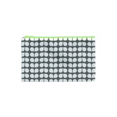 Gray And White Leaf Pattern Cosmetic Bag (XS)