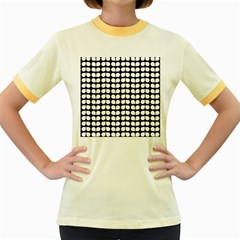 Black And White Leaf Pattern Women s Fitted Ringer T-Shirts