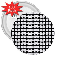 Black And White Leaf Pattern 3  Buttons (100 Pack)