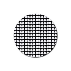 Black And White Leaf Pattern Rubber Coaster (round)