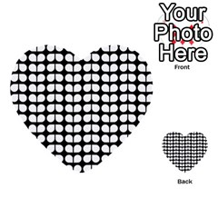 Black And White Leaf Pattern Multi-purpose Cards (Heart)