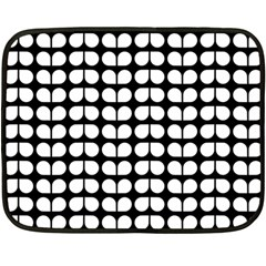 Black And White Leaf Pattern Fleece Blanket (Mini)
