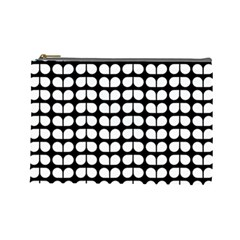 Black And White Leaf Pattern Cosmetic Bag (large)