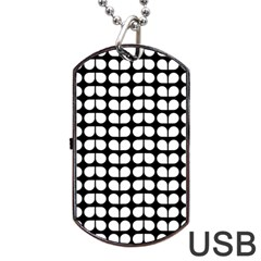 Black And White Leaf Pattern Dog Tag Usb Flash (two Sides)