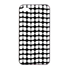 Black And White Leaf Pattern Apple iPhone 4/4s Seamless Case (Black)