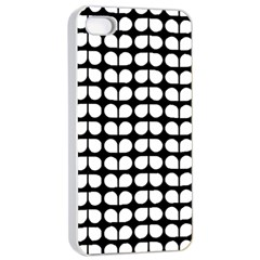 Black And White Leaf Pattern Apple iPhone 4/4s Seamless Case (White)