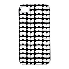 Black And White Leaf Pattern Apple Iphone 4/4s Hardshell Case With Stand