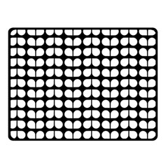 Black And White Leaf Pattern Double Sided Fleece Blanket (Small)