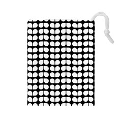 Black And White Leaf Pattern Drawstring Pouches (large)
