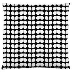 Black And White Leaf Pattern Large Flano Cushion Cases (Two Sides)