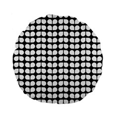 Black And White Leaf Pattern Standard 15  Premium Flano Round Cushions
