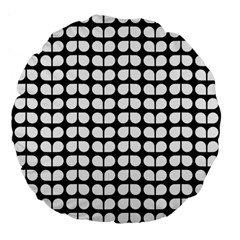 Black And White Leaf Pattern Large 18  Premium Flano Round Cushions