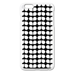 Black And White Leaf Pattern Apple iPhone 6 Plus Enamel White Case