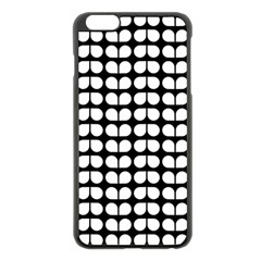 Black And White Leaf Pattern Apple Iphone 6 Plus Black Enamel Case