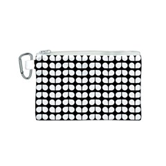 Black And White Leaf Pattern Canvas Cosmetic Bag (S)