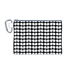 Black And White Leaf Pattern Canvas Cosmetic Bag (M)