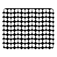 Black And White Leaf Pattern Double Sided Flano Blanket (Large)