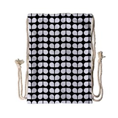 Black And White Leaf Pattern Drawstring Bag (small)
