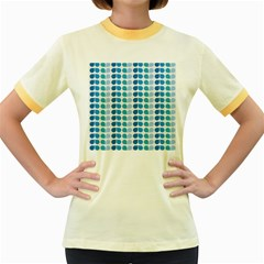 Blue Green Leaf Pattern Women s Fitted Ringer T-Shirts