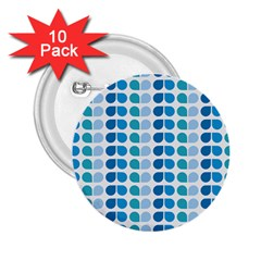 Blue Green Leaf Pattern 2 25  Buttons (10 Pack)