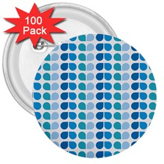 Blue Green Leaf Pattern 3  Buttons (100 Pack)