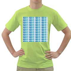 Blue Green Leaf Pattern Green T-Shirt