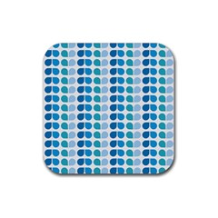 Blue Green Leaf Pattern Rubber Square Coaster (4 Pack)