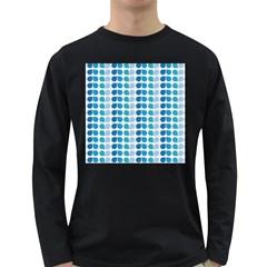 Blue Green Leaf Pattern Long Sleeve Dark T Shirts