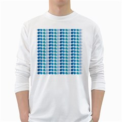Blue Green Leaf Pattern White Long Sleeve T-Shirts