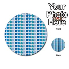 Blue Green Leaf Pattern Multi-purpose Cards (Round)