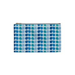 Blue Green Leaf Pattern Cosmetic Bag (small)