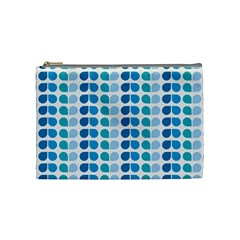 Blue Green Leaf Pattern Cosmetic Bag (medium)