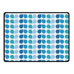 Blue Green Leaf Pattern Fleece Blanket (Small)