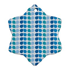 Blue Green Leaf Pattern Snowflake Ornament (2-Side)