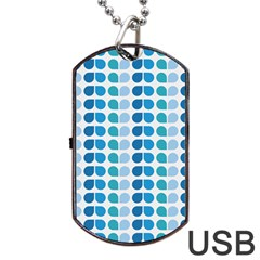 Blue Green Leaf Pattern Dog Tag USB Flash (Two Sides)