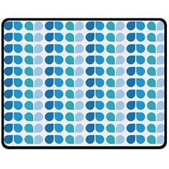 Blue Green Leaf Pattern Double Sided Fleece Blanket (medium)