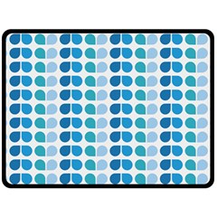 Blue Green Leaf Pattern Double Sided Fleece Blanket (large)
