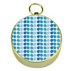 Blue Green Leaf Pattern Gold Compasses
