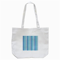 Blue Green Leaf Pattern Tote Bag (white)
