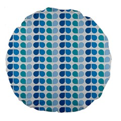 Blue Green Leaf Pattern Large 18  Premium Flano Round Cushions