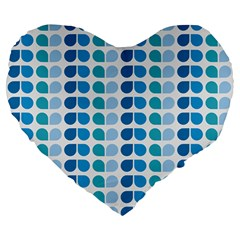 Blue Green Leaf Pattern Large 19  Premium Flano Heart Shape Cushions